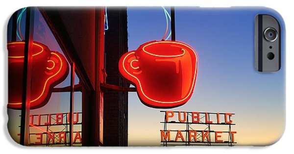 Sign iPhone Cases - Seattle Coffee iPhone Case by Inge Johnsson