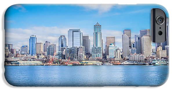 Skylines Pyrography iPhone Cases - Seattle Days iPhone Case by Shelby Hall