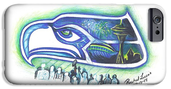 Fireworks Drawings iPhone Cases - Seattle Football 3.0 iPhone Case by Rachel Lucas