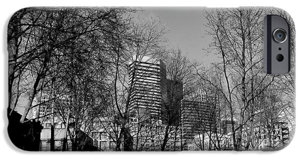 Monotone iPhone Cases - Seattle from Pioneer Square iPhone Case by David Patterson