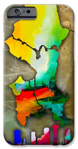 Seattle iPhone Cases - Seattle Map and Skyline Watercolor iPhone Case by Marvin Blaine