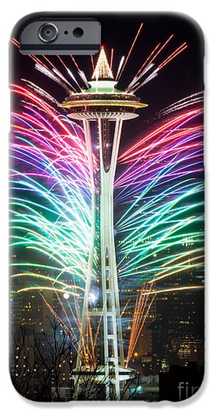Fireworks Photographs iPhone Cases - Seattle New Year iPhone Case by Inge Johnsson