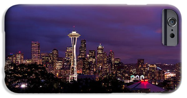 Seattle iPhone Cases - Seattle Night iPhone Case by Chad Dutson