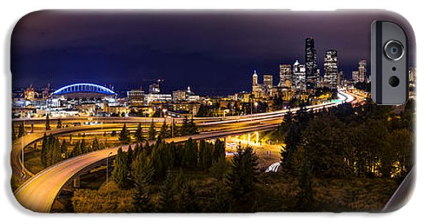 Safeco iPhone Cases - Seattle Night Panorama iPhone Case by Dustin  LeFevre