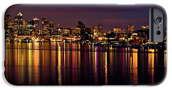 Night Lamp iPhone Cases - Seattle Night Reflections iPhone Case by Mary Jo Allen