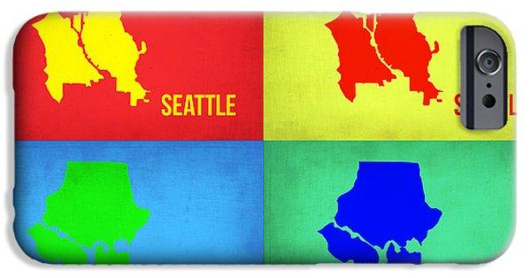 Seattle iPhone Cases - Seattle Pop Art Map 1 iPhone Case by Naxart Studio
