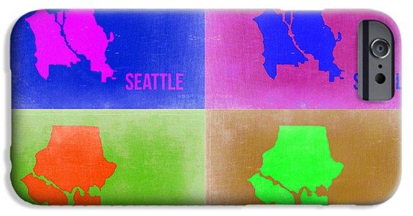 Seattle iPhone Cases - Seattle Pop Art Map 2 iPhone Case by Naxart Studio