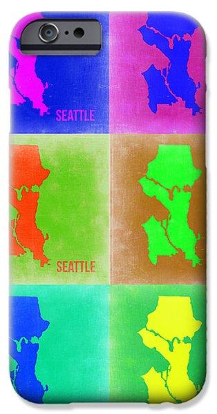 Seattle iPhone Cases - Seattle Pop Art Map 3 iPhone Case by Naxart Studio