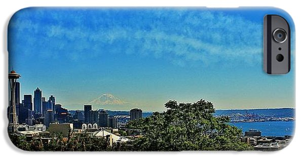 Angel Blues iPhone Cases - Seattle Seafair Panorama iPhone Case by Benjamin Yeager