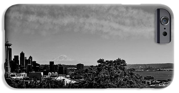 Angel Blues iPhone Cases - Seattle Seafair Panorama Black and White iPhone Case by Benjamin Yeager