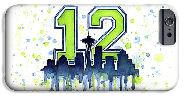 Seattle iPhone Cases - Seattle Seahawks 12th Man Art iPhone Case by Olga Shvartsur