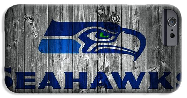 Champion Mixed Media iPhone Cases - Seattle Seahawks Barn Door iPhone Case by Dan Sproul