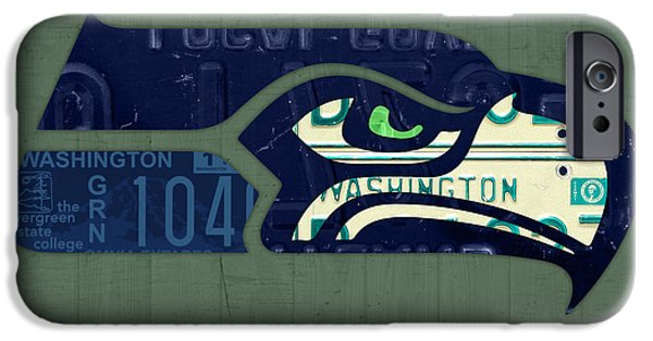 Seattle Seahawks iPhone Cases - Seattle Seahawks Football Team Retro Logo Washington State License Plate Art iPhone Case by Design Turnpike
