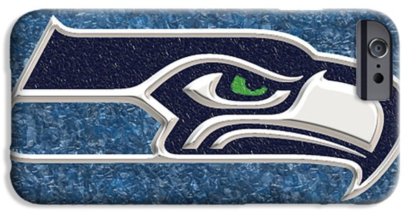 Best Sellers -  - Husky iPhone Cases - Seattle Seahawks Mosaic iPhone Case by Jack Zulli