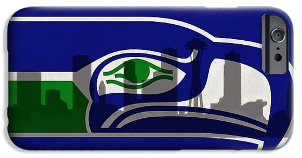 Seattle Seahawks iPhone Cases - Seattle Seahawks On Seattle Skyline iPhone Case by Dan Sproul