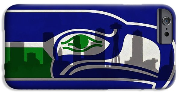 Downtown Mixed Media iPhone Cases - Seattle Seahawks On Seattle Skyline iPhone Case by Dan Sproul
