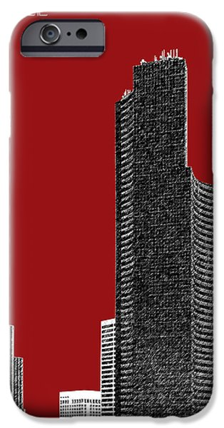 Pen And Ink iPhone Cases - Seattle Skyline Columbia Tower - Dark Red iPhone Case by DB Artist