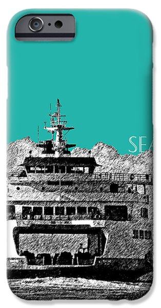 Pen And Ink iPhone Cases - Seattle Skyline Ferry - Teal iPhone Case by DB Artist