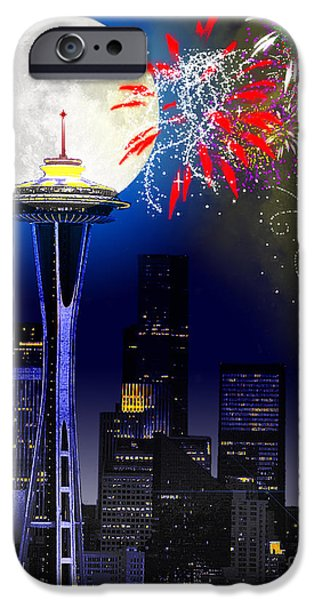 Firework Digital Art iPhone Cases - Seattle Skyline iPhone Case by Methune Hively