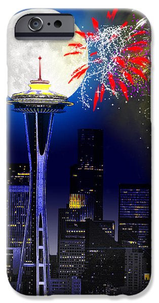 Fireworks Digital iPhone Cases - Seattle Skyline iPhone Case by Methune Hively