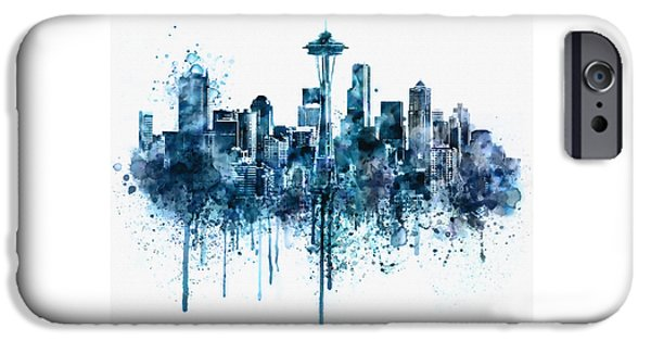 Buildings Mixed Media iPhone Cases - Seattle Skyline monochrome watercolor iPhone Case by Marian Voicu