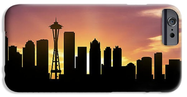 Down Town iPhone Cases - Seattle Skyline Panorama Sunset iPhone Case by Aged Pixel