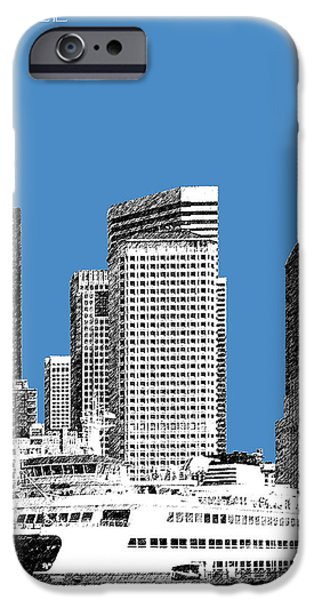 Pen And Ink iPhone Cases - Seattle Skyline - Slate iPhone Case by DB Artist
