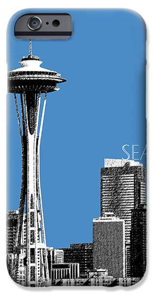 Pen And Ink iPhone Cases - Seattle Skyline Space Needle - Slate Blue iPhone Case by DB Artist