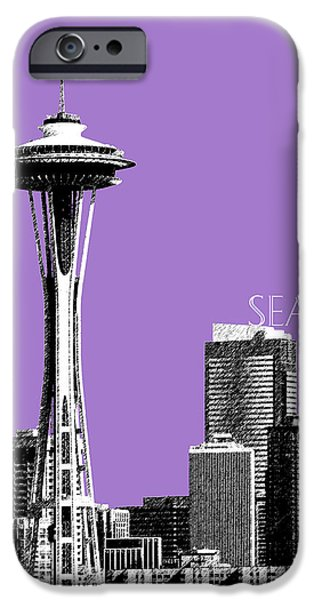 Pen And Ink iPhone Cases - Seattle Skyline Space Needle - Violet iPhone Case by DB Artist