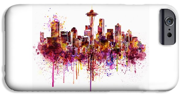 Buildings Mixed Media iPhone Cases - Seattle Skyline watercolor iPhone Case by Marian Voicu