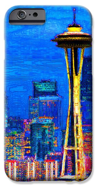 Seattle Space Needle 20130115v1 iPhone Case by Wingsdomain Art and Photography