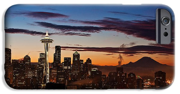 Waterfront Photographs iPhone Cases - Seattle Sunrise iPhone Case by Mike Reid