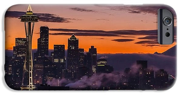 Morning iPhone Cases - Seattle Sunrise Purples iPhone Case by Mike Reid