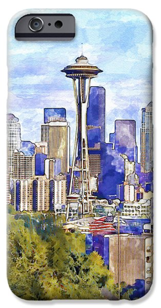 Skyscraper Mixed Media iPhone Cases - Seattle View in watercolor iPhone Case by Marian Voicu
