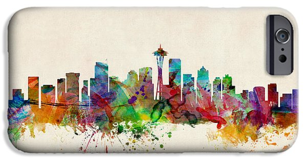 Washington Digital Art iPhone Cases - Seattle Washington Skyline iPhone Case by Michael Tompsett