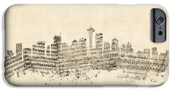 Sheets iPhone Cases - Seattle Washington Skyline Sheet Music Cityscape iPhone Case by Michael Tompsett