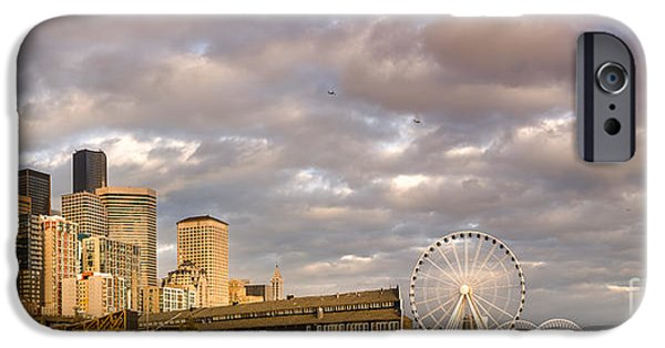 Safeco iPhone Cases - Seattle Waterfront Bathed in Golden Hour - Seattle Skyline - Puget Sound Washington State iPhone Case by Silvio Ligutti
