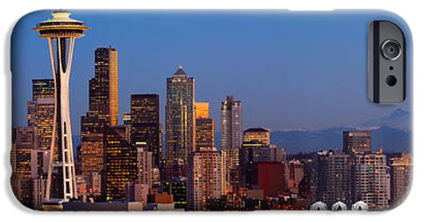 Seattle iPhone Cases - Seattle Winter Evening Panorama iPhone Case by Inge Johnsson