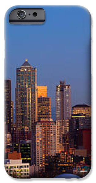 Seattle Winter Evening Panorama iPhone Case by Inge Johnsson