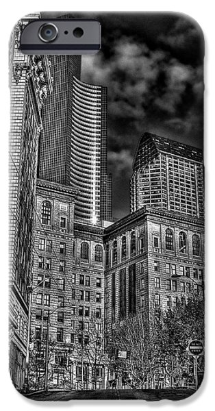 Monotone iPhone Cases - Seattles Old and New iPhone Case by David Patterson