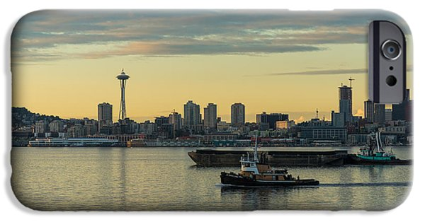 Waterfront Photographs iPhone Cases - Seattles Working Harbor iPhone Case by Mike Reid