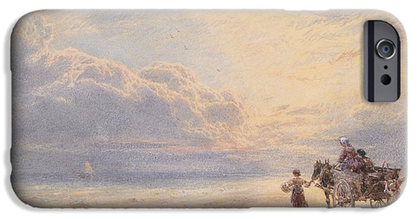 Horse And Cart Paintings iPhone Cases - Seaweed Gatherers iPhone Case by Myles Birket Foster