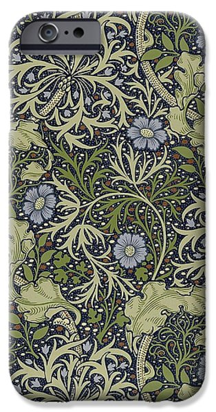Food And Beverage Tapestries - Textiles iPhone Cases - Seaweed Pattern iPhone Case by William Morris