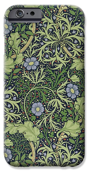 Design Tapestries - Textiles iPhone Cases - Seaweed wallpaper design iPhone Case by William Morris