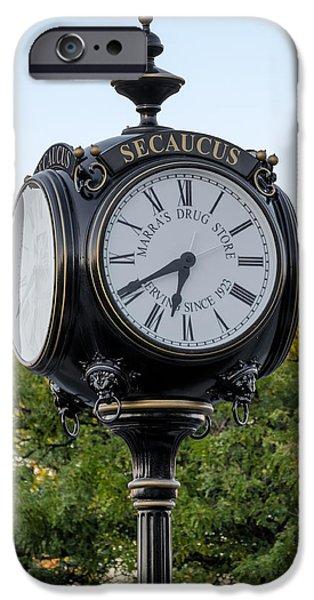 Susan Candelario Photographs iPhone Cases - Secaucus Clock Marras Drugs iPhone Case by Susan Candelario