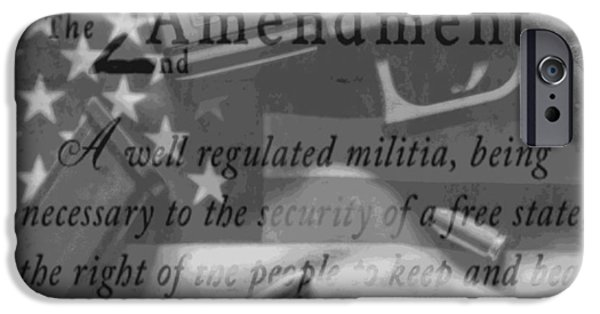 Constitution iPhone Cases - Second Amendment Black And White iPhone Case by Dan Sproul
