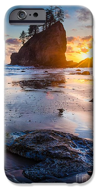 Drama iPhone Cases - Second Beach Rock iPhone Case by Inge Johnsson