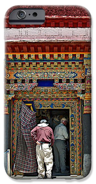Tibetan Buddhism Digital iPhone Cases - Second Entry to Sera Monastery in Lhasa-Tibet iPhone Case by Ruth Hager