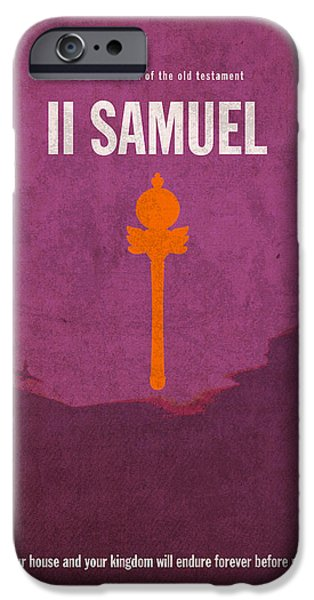 Bible Mixed Media iPhone Cases - Second Samuel Books of the Bible Series Old Testament Minimal Poster Art Number 10 iPhone Case by Design Turnpike