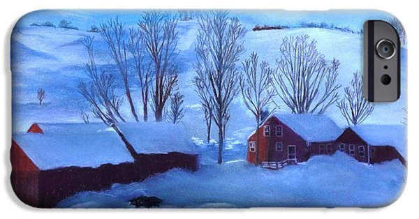 New England Snow Scene Pastels iPhone Cases - Second Snow iPhone Case by Vincent Mancuso